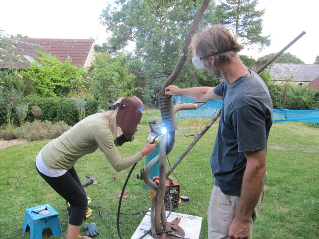 Fiona Campbell and Pete Margerum creating a tree from exhaust pipes for the litterARTI a WASTEofSPACE Exhibition 5- 9 August. Participants will complete the artwork during workshops which will take place on Wednesday, 5 August 2014.
