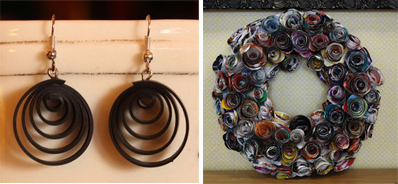 Innertube Jewelry and Christmas Wreath made by Phipholle