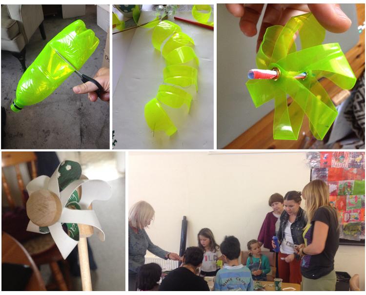 Annali Alletha making fan using yogurt pots, and plastic bottles