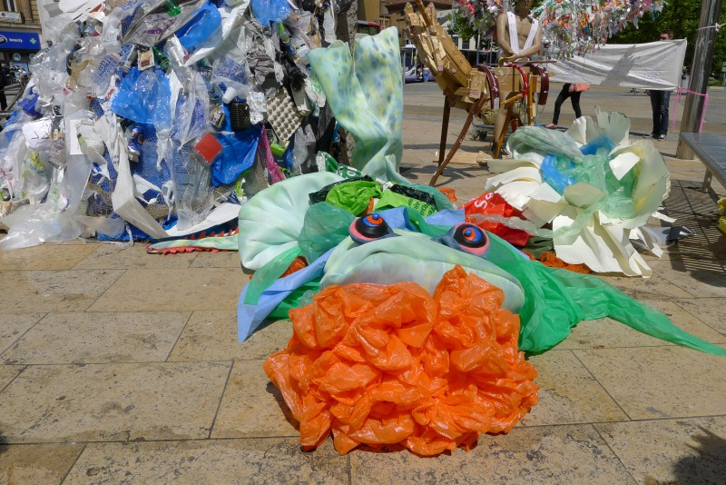 Litterarti event in Bristol City centre 2015 as part Green Capital 2015 on World Oceans Day raising awareness about waste in the oceans.