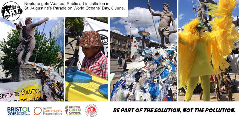 World Oceans Day. Neptune Gets Wasted. Public Art Installation. St Augustine's Parade, Bristol City Centre. 8 June 2015
