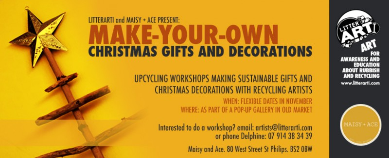 Macy and Ace and LitterARTI host Christmas workshops to make sustainable christmas gifts and deocrations for the month of November
