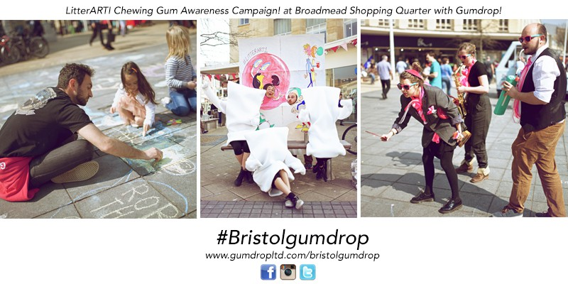 Litterarti chewing gum awareness campaign with Broadmead Bid Shopping Quarter and Gumdrop